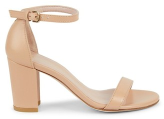 Stuart Weitzman Leather Block Heel Ankle-Strap Sandals