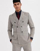 Jack & Jones Premium slim fit double breasted vintage check suit jacket in brown