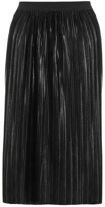 Quiz Black Pleated Metallic Foil Midi Skirt