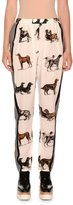 Stella McCartney Dog-Print Silk Track Pants, White