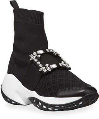 Roger Vivier Viv Run Crystal Sneaker-Style Booties