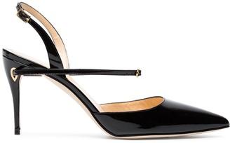 Jennifer Chamandi Black Vittorio 85 patent leather pumps
