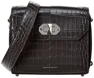 Alexander McQueen Croc-Embossed Leather Shoulder Bag
