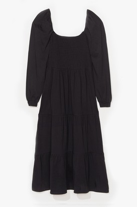 Nasty Gal Womens Tiers to the Good Times Plus Puff Maxi Dress - Black
