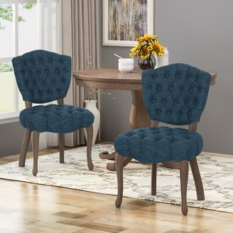 One Allium Way Marielle Tufted Upholstered Dining Chair One Allium Way Upholstery Color: Teal