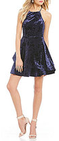 B. Darlin High Neck Velvet Fit-And-Flare Dress