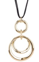 Natasha Accessories Cord Circle Pendant Necklace