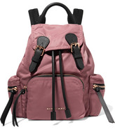 Burberry Small Leather-trimmed Gabardine Backpack - Pink