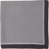 Barneys New York Men's Houndstooth-Print Silk Pocket Square-BLACK