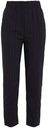 Ganni Total Eclipse Pintstriped Stretch-crepe Tapered Pants