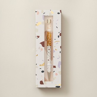 Indigo Paper Marble Boxed Glitter Pen Yellow Gold