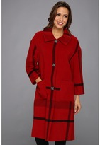 Pendleton Long Engineered Plaid Coat (Cherry Red Plaid) - Apparel