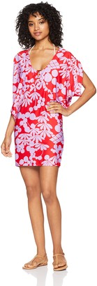 Trina Turk Women's Rouched Front V-Neck Cover Up Tunic Dress