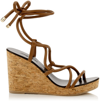Jimmy Choo ALLIS 95 Cuoio Cork Wedge Sandal with Nappa Leather Straps
