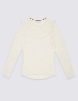 Marks and Spencer Cotton Rich Crew Neck Top (3 - 14 Years)