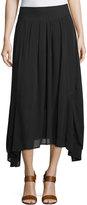 Neiman Marcus Sharkbite-Hem A-Line Midi Skirt, Black