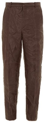 Y/Project Creased Organza-layered Crepe Trousers - Dark Brown