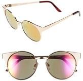 Quay Junior Women's 'Asha' 50Mm Metal Sunglasses - Gold/ Pink Mirror