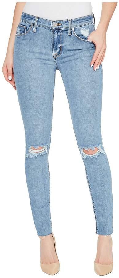 Hudson Nico Mid-Rise Ankle Raw Hem Super Skinny Five-Pocket Jeans in Hooligan Women's Jeans