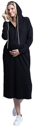 Angel Maternity Maternity Nursing Long Hoodie Dress (Black) Women's Clothing