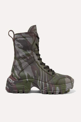 Miu Miu Camouflage-print Textured-leather Ankle Boots - Army green