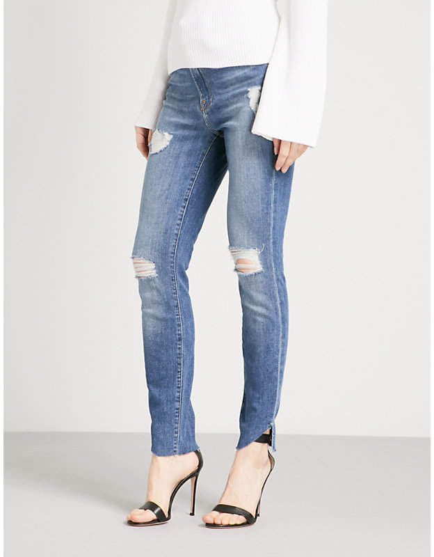 Good American Good Waist cascade-hem skinny high-rise jeans
