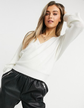 Forever New knitted wrap off shoulder jumper in white