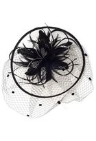 Quiz Black And Cream Bow Detail Saucer Fascinator