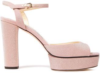 Jimmy Choo Peachy 105 Glittered Leather Platform Sandals