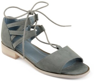 Brinley Co. Womens Faux Nubuck Criss-cross Lace-up Sandals