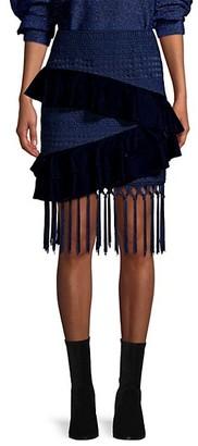 PatBO Velvet & Lace Fringed Mini Skirt
