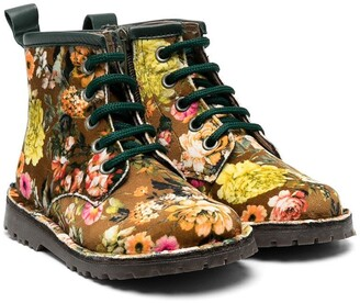 Pépé Floral Print Velvet Boots