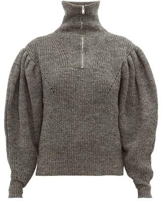 Isabel Marant Kuma Puff-sleeve Wool Sweater - Womens - Dark Grey