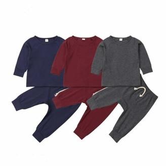 Hailouhai Fall Winter NewbornBaby Boys Pajams Cute Long sleeveTops with Stripped Pants 2PCS Solid Colors Sweatsuit Set (Grey 12-18m)