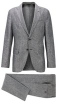 HUGO BOSS - Vegan Slim Fit Suit In Italian Linen - Black