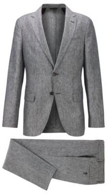 HUGO BOSS Vegan Slim Fit Suit In Italian Linen - Black