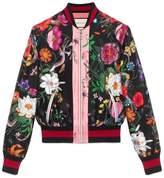 Gucci Flora Snake print silk bomber