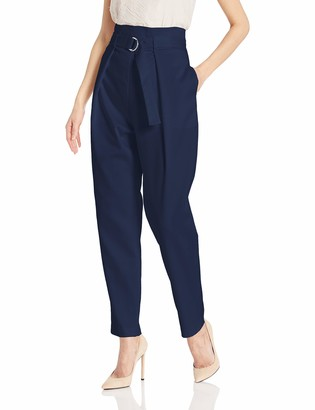 BCBGMAXAZRIA Women's Belted Pleat Front Ankle Pant