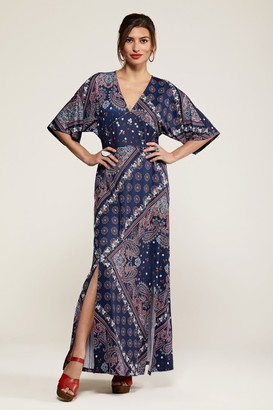 Yumi Ditsy Navy Scarf Print Maxi Dress With K