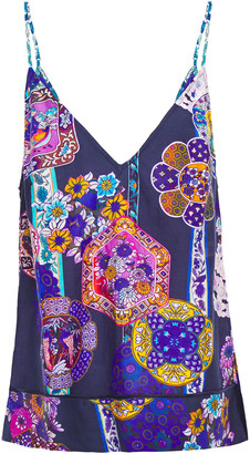 Camilla Star Gazer Printed Cotton And Silk-blend Mousseline Top