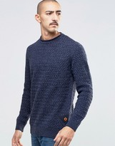 Barbour Jumper With Textured Knit In Navy