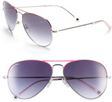 62mm Aviator Sunglasses Silver Pink One Size