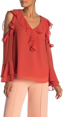 Diane von Furstenberg Essie Cold Shoulder Ruffle Blouse