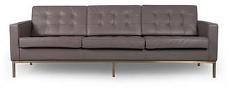"Agostini Mid-Century Leather 89"" Square Arms Sofa Corrigan Studio Fabric: Mindgray Gold"