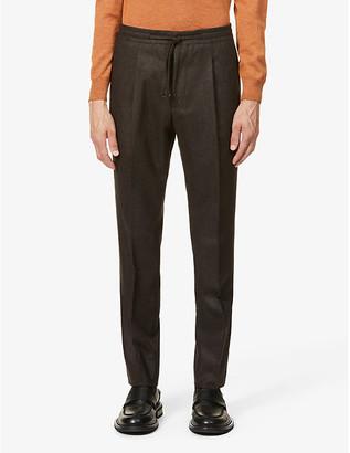 Corneliani Drawstring-waistband tapered wool-flannel trousers
