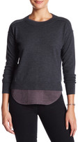 Brochu Walker Wool-Linen Blend Francine Layered Crew Sweater
