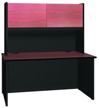 Ironwood Modular Desk Shell with Hutch Finish: Mahogany / Black