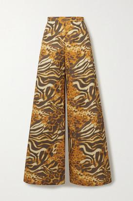 Miguelina Pamela Animal-print Cotton-poplin Wide-leg Pants