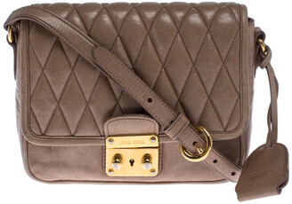 Miu Miu Beige Quilted Leather Push Lock Flap Shoulder Bag