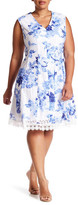 Sandra Darren V-Neck Floral Fit Flare Dress (Plus Size)